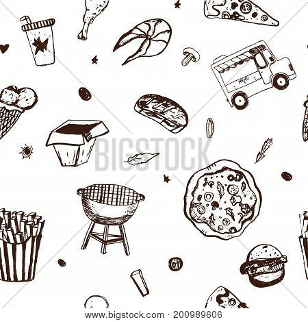 Fastfood seamless pattern. Menu background. Vector Illustration with nice food doodles on white