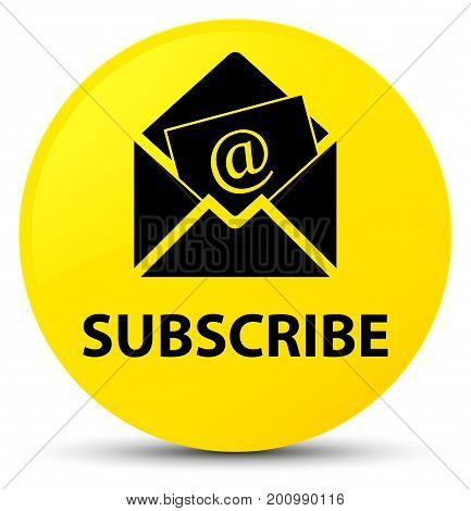 Subscribe (newsletter Email Icon) Yellow Round Button