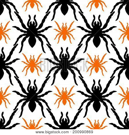 seamless pattern with tarantula silhouette on a white background
