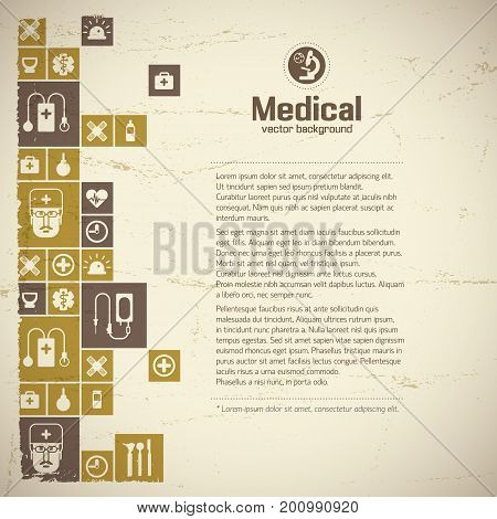 Medical help and treatment design background with sample text and medical symbols flat vector illustration