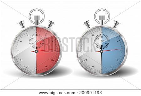 Two stopwatches. A measured time of thirty seconds: to be in time late.