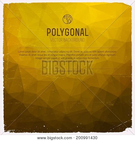 Abstract triangle polygonal yellow vector background with gradient and place for text vector illustration