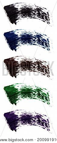Set of  flat mascara swatches. Brush strokes of different shades of mascara. Colorful swirls isolated on white background.