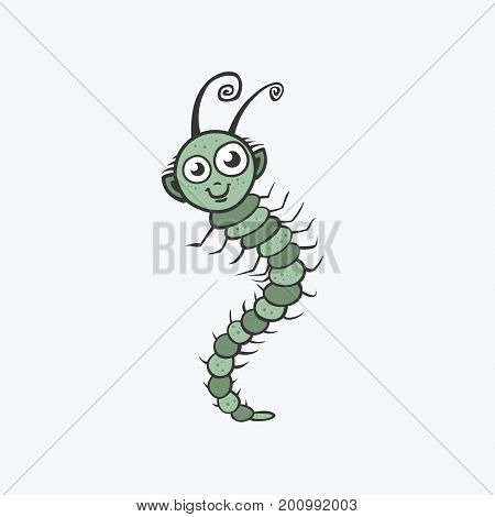 Funny vector icon. Centipede caterpillar worm. Flat Illustration for your design