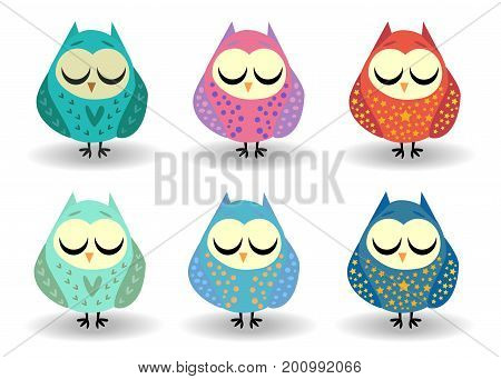A set of six owls with closed eyes, sleeping in hearts, speckles, in sprockets. Drawing for a cup, decoration, postcard. Pastel shades.