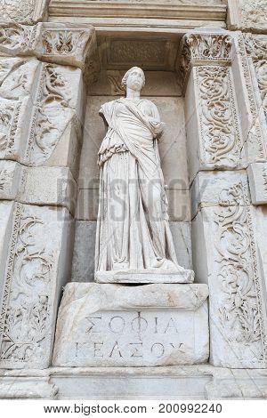 Personification of Wisdom Statue in Ephesus Ancient City Izmir Turkey poster