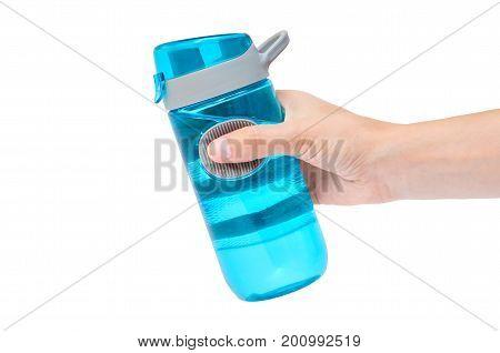 Hand holding sport bottle isolated on white background.