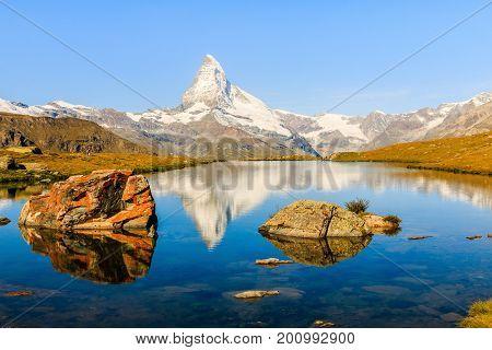 Zermatt Switzerland. Reflection of Matterhorn in Stellisee lake.