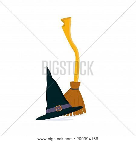 Vector cartoon illustration: Besom or Witch twig Broom and wizard hat or Merlin Cap isolated. Great for halloween materials and as fairy tales illustration or stage magician poster template.