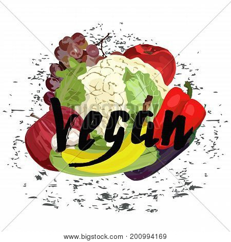 Lettering vegan, ink, brush pen, with realistic fruits. Vector. Hand drawn. Healthy eating vector concept. Red apple banana grape pepper cauliflower squash zucchini eggplant