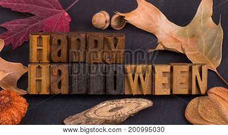 Happy halloween sign with autumn decorations on a black background