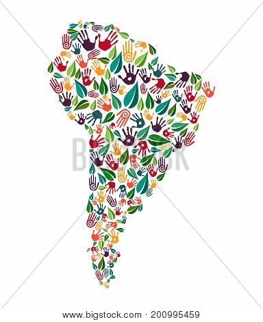 South America Hand Print Social Environment Help