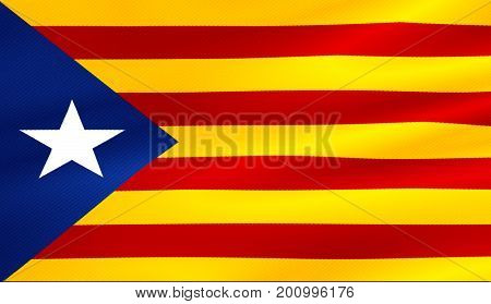 flag of catalonia yellow and red strip with star waving texture fabric background national catalan symbol vote for separatism independence from spain concept
