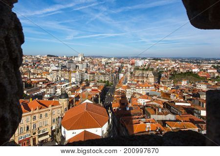 View of the old city centre from the Clerigos tower, Porto, Portugal.