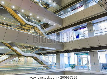 LATVIA. RIGA, JANUARY, 15, 2015 - Internal architecture of the new national public library in Riga, Latvia. It is among the greatest cultural projects of the 21st century in Latvia.