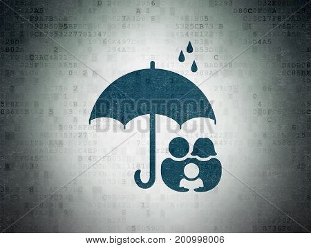 Safety concept: Painted blue Family And Umbrella icon on Digital Data Paper background