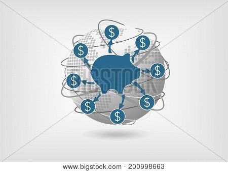 Withdraw savings money during a global recession. Vector icon of piggy bank.