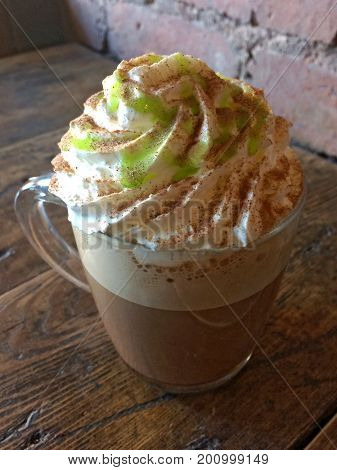 Delicious peppermint mocha topped with cream and peppermint syrup