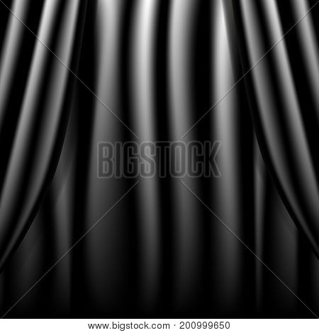 Realistic theatrical black curtain. Black style. Vector illustration.