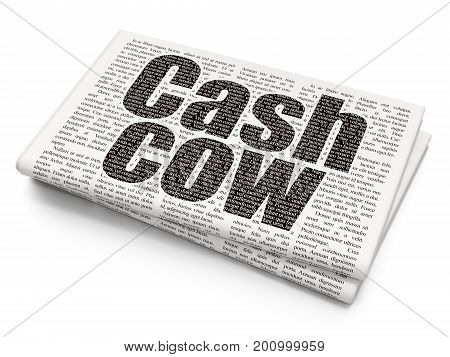 Finance concept: Pixelated black text Cash Cow on Newspaper background, 3D rendering