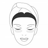 Vector icon illustration for cosmetic face skin care in line art style: woman face with gel eye patches masks on. Eye patches could be gel, sheet, moisturizing, hydrogel,antiage or skincare. poster
