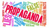 Propaganda word cloud on a white background. poster