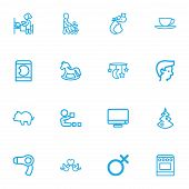Set Of 16 Editable Kin Outline Icons. Includes Symbols Such As Christmas, Grandson, Money Box poster