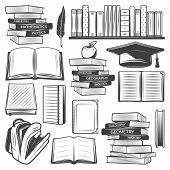 Vintage education elements set with school books textbooks bag apple graduation cap feather isolated vector illustration poster