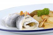 Pickled herring with fried potatoes cucumber and tomato poster