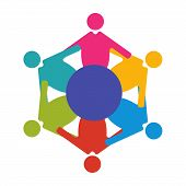 Reunion or Diversity group or community vector illustration. Round table and diverse people teamwork cooperation symbol. Great as cultural and racial diversity solidarity promotion. poster