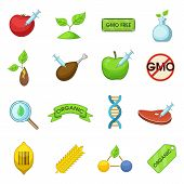 GMO goods set food. Flat illustration of 16 GMO goods vector icons for web poster