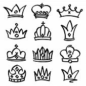 Vector hand drawn princess crowns. Sketch doodle royalty symbols. Royalty sketch crown, queen and king fashionable illustration poster