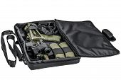 Bag for concealed carry of submachine gun. Isolated poster