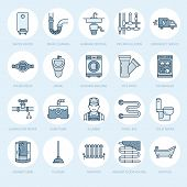 Plumbing service vector flat line icons. House bathroom equipment, faucet, toilet, pipeline, washing machine, dishwasher. Plumber repair illustration, thin linear signs for handyman services. poster