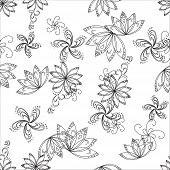 Abstract seamless background with graphic floral pattern, monochrome contours poster