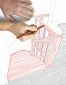 Drawing and planned Renovation of a modern duplex with wooden stairs poster