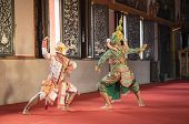 Hanuman and Tosakan is traditional dance drama art of Thai classical masked this performance is Ramayana THAI KHON epic poster