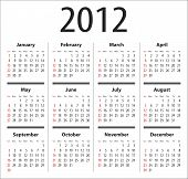 Calendar for 2012. 4 columns, 3 rows. Sundays first poster