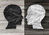 Bipolar mental health and brain disorder concept as a human head in paper divided in two colors as a neurological mood and emotion symbol or medical psychological metaphor for social behavior challenges in a 3D illustration style. poster