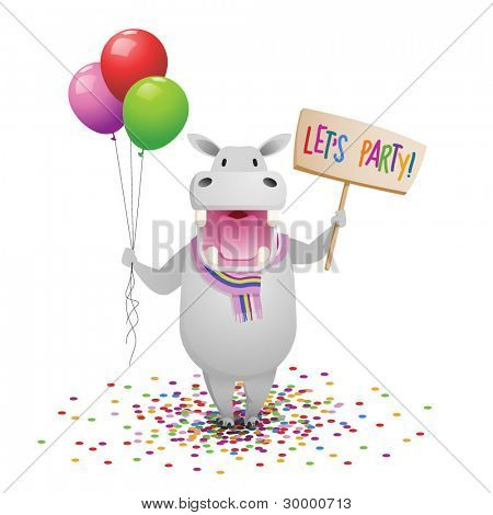Children's party invitation, cartoon hippo with balloons
