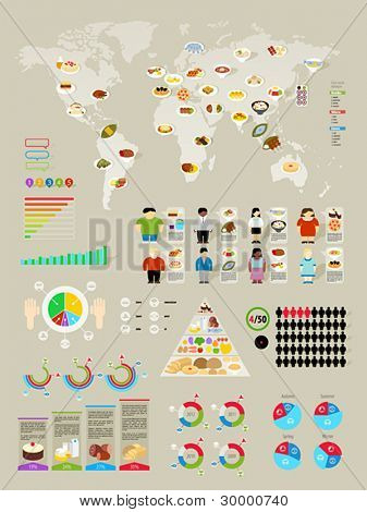 Food Infographic set with colorful charts. Vector illustration.
