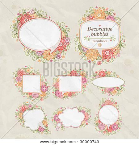 Vector set: hand drawn floral design bubbles.