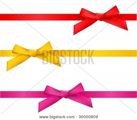 ribbon bows - red, gold, pink collection. isolated on white.