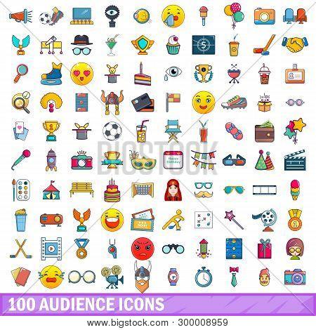 100 Audience Icons Set. Cartoon Illustration Of 100 Audience Icons Isolated On White Background