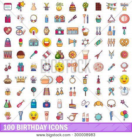 100 Birthday Icons Set. Cartoon Illustration Of 100 Birthday Icons Isolated On White Background