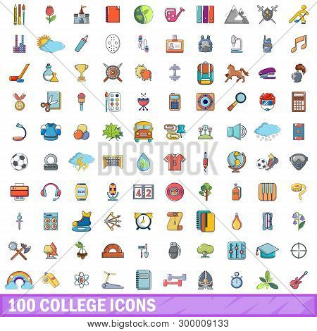 100 College Icons Set. Cartoon Illustration Of 100 College Icons Isolated On White Background