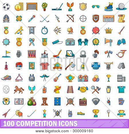 100 Competition Icons Set. Cartoon Illustration Of 100 Competition Icons Isolated On White Backgroun