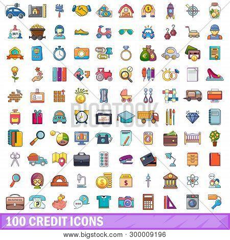 100 Credit Icons Set. Cartoon Illustration Of 100 Credit Icons Isolated On White Background