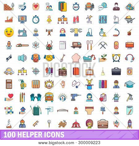 100 Helper Icons Set. Cartoon Illustration Of 100 Helper Icons Isolated On White Background