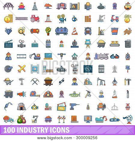 100 Industry Icons Set. Cartoon Illustration Of 100 Industry Icons Isolated On White Background